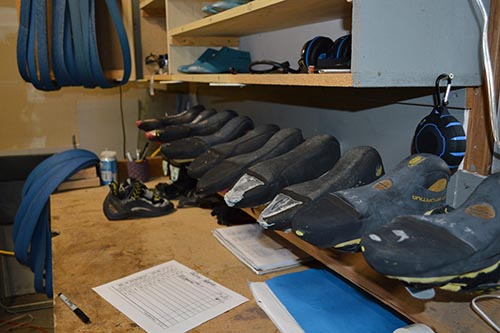 many climbing shoes ready to resole